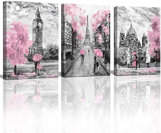 Black and White Canvas Wall Art for Living Room Bedroom Bathroom Girls Pink Paris Theme Room Decor