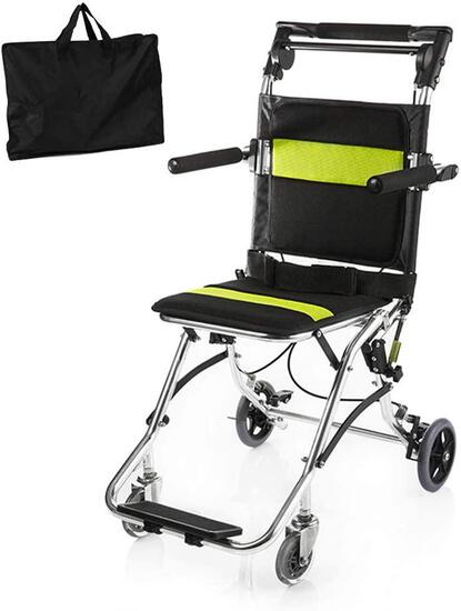 Healva Transport Wheelchair, Folding Portable Boarding Travelling Wheelchair With - $235.00 MSRP