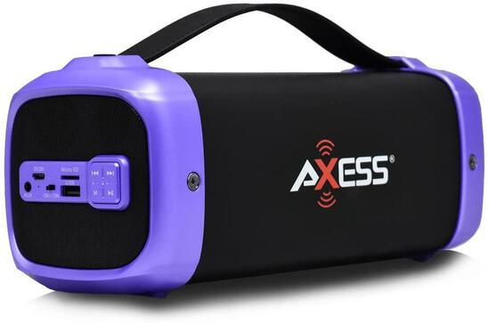 AXESS SPBT1074 Portable Indoor/Outdoor Bluetooth Media Speaker with Built-In FM Radio Rechargeable