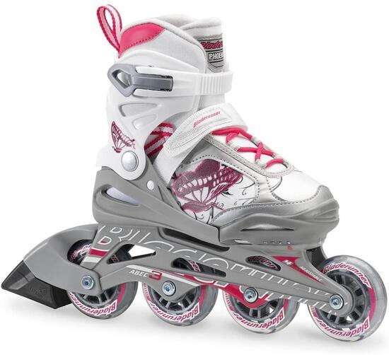 Bladerunner...By Rollerblade Phoenix Girls Adjustable Fitness Inline Skate, White And Pink, Junior..