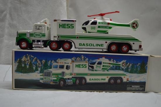 Hess truck w/ helicopter (truck w/ lights and sounds) (helicopter rotates and has lights)