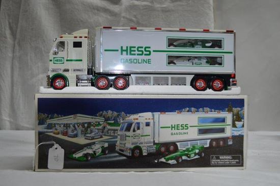 Hess car hauler truck w/ 2 race cars (friction cars) & lights