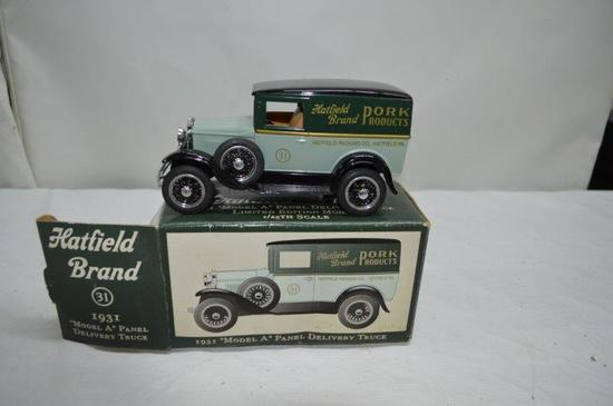 """""""Hatfield 100th Anniversary"""" 1931 Model A panel delivery truck bank"""