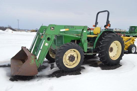 JD 5300 w/ quick attach loader, 6,975 hrs, 8 sp. w/ LHR, 4wd, 3 remotes 540