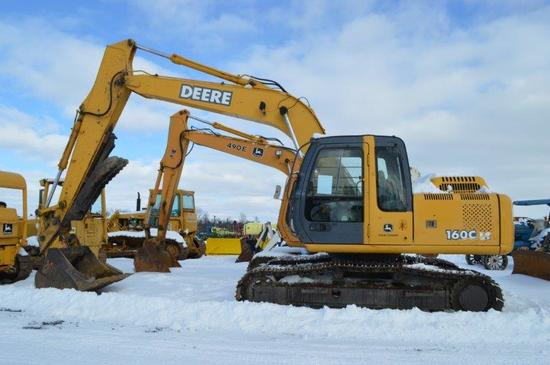 JD 160C LC excavator w/ 8,347 hrs, 2 speed, quick coupler, hyd. thumb, Eaco