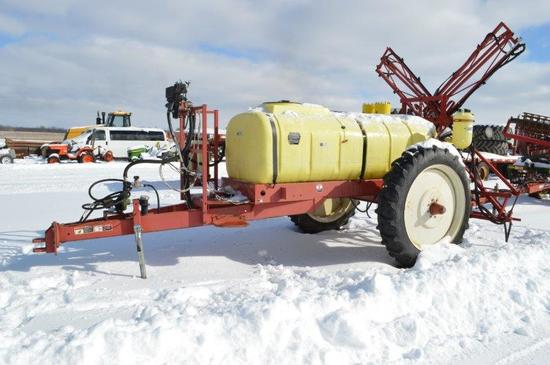 Hardi sprayer w/ 700 gallon tank w/ foam markers, hyd. pump, electric contr