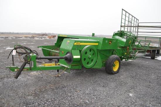 '08 JD 348 square baler w/ JD 42 kicker, string tie, electric controls, aut