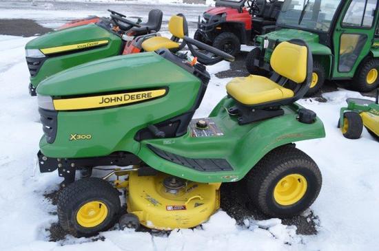 "JD X300 lawn mower w/ 42"" deck, 700 hrs, hydro"