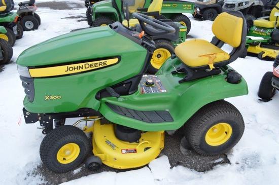 "JD X300 lawn mower w/ 42"" deck, 660 hrs, hydro (nice)"