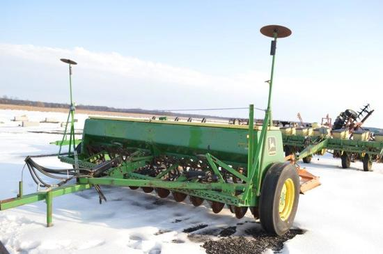 JD 8300 12' grain drill, double disc w/ deck control, marker arms, 7.50-20