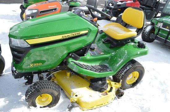 """'17 JD X350 lawn mower w/ Accel Deep 48"""" deck, 64 hrs (Like New!)"""