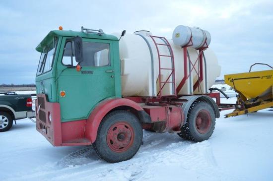 """'69 White Compact truck w/ 1,600 gallon tank & Briggs & Stration 2"""" pump, C"""