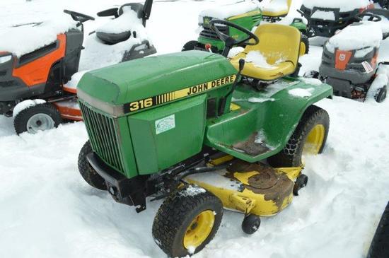 JD 316 mower, 50'' cut, gas