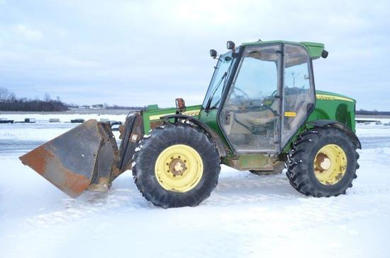 JD 3220 32' telehander w/ 8' material butcket, 8,609 hrs, 4sp w/ LHR, 4wd,