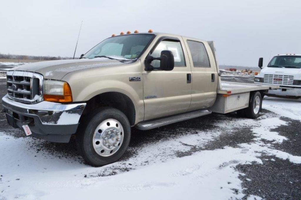 '01 Ford F450 pickup truck w/ 14' aluminum flatbed, diesel, 116,259 miles,