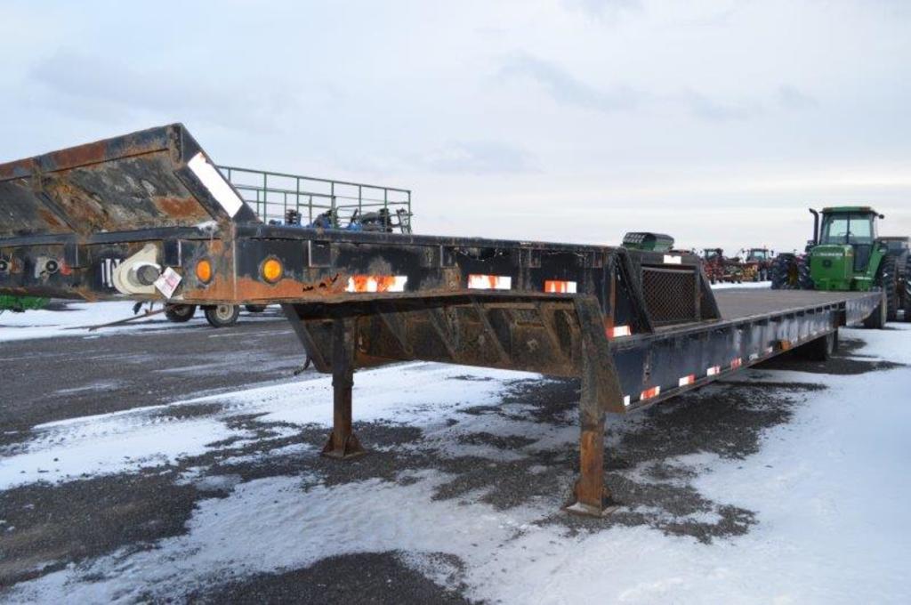 '81 Great Dane 54' drop deck steel trailer w/ single axle, 235/75R17.5 new