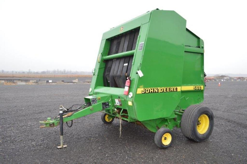 "JD 566 round baler w/ string tie, 6'4"" pickup, moniter in office"