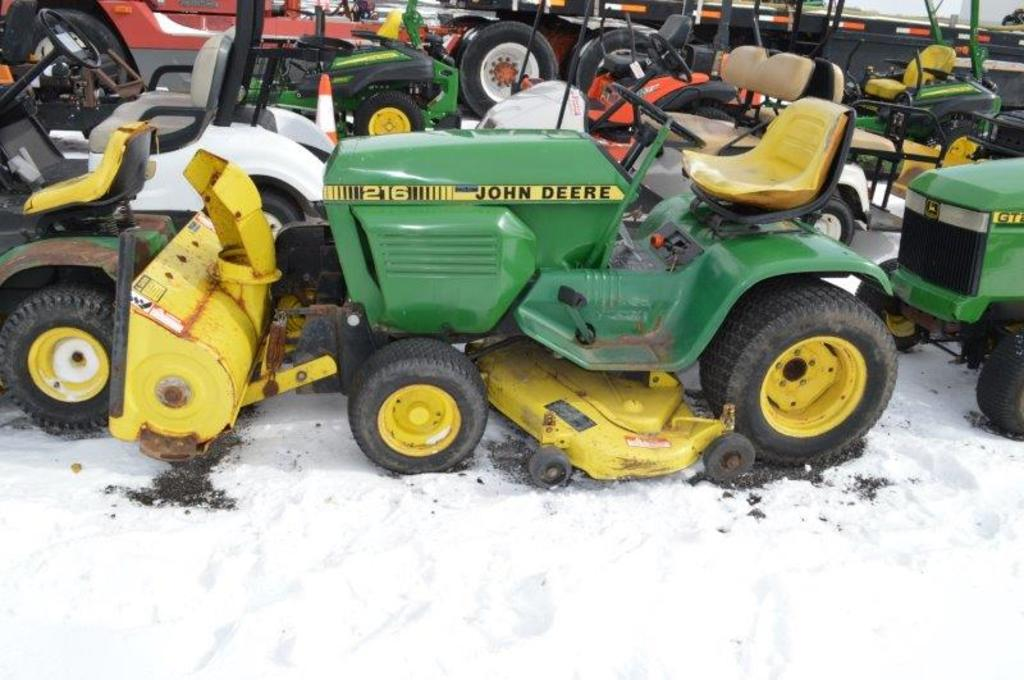 JD 216 riding mower w/ JD 38'' snow blower, 48'' cut,gas