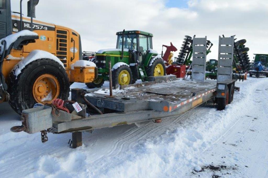 """'97 Custom 76""""x23' galvanized trailer w/ heavy duty fold up ramps, 215/75R2"""