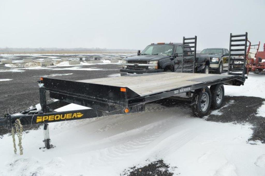 '18 Pequea trailer, 16' w/ ramps, over deck, electric brakes, (brand new, 2