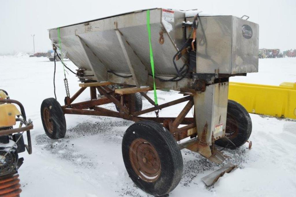 """Airflow 96"""" stainless steel salt spreader w/ Honda gas engine, controlls in"""