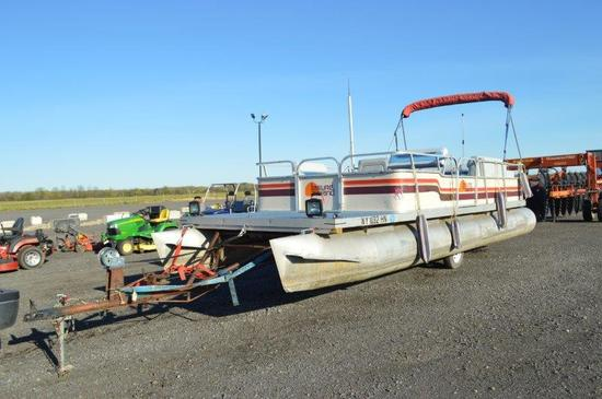 '86 Leisure Island pontoon boat w/ Bimini canopy, Evinrude 70 HP motor, lights, cover, selling with