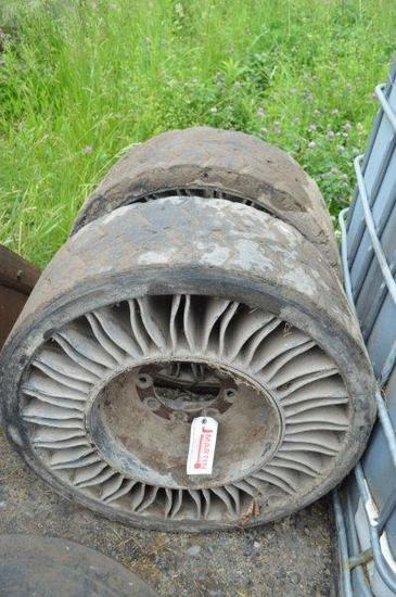 2- flat skid loader tires
