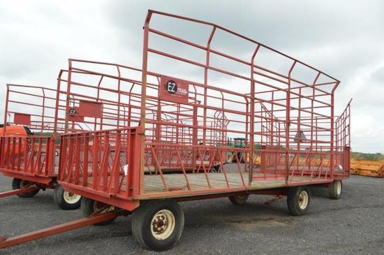 Ez Trail 9'x18' steel, kicker hay wagon on 8 ton running