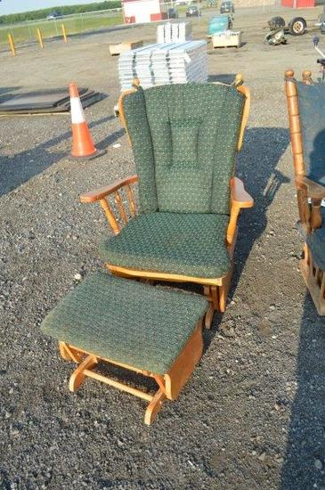 2- indoor rocking chairs , one w/ foot stool