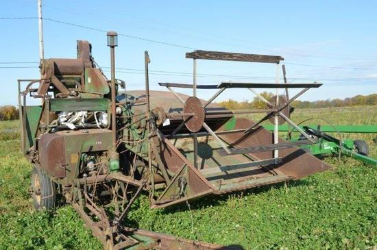 JD 12A original, antique combine w/ 2 sets of canvasses, scour cleaner w/ bagger, (Orignal 2 Cylinde