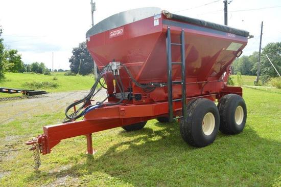 Salford PTPG 8 ton Salford/BBI Stainless Liberty fertilizer spreader w/ roll tarp, hyd & wheel drive