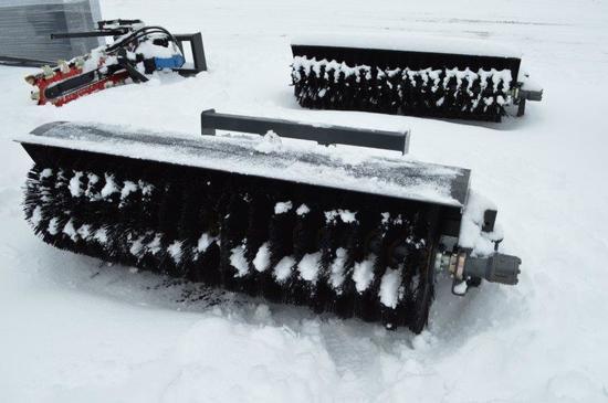 Heavy duty skid mount sweeper w/ bucket