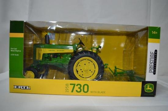 1958 JD 730 tractor, Die-cast metal, 1/16th scale (Prestige Collection), new in box