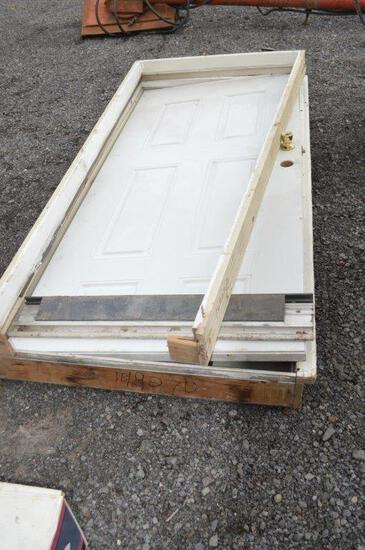 2- 36''x80'' wooden frame vinyl entrance doors