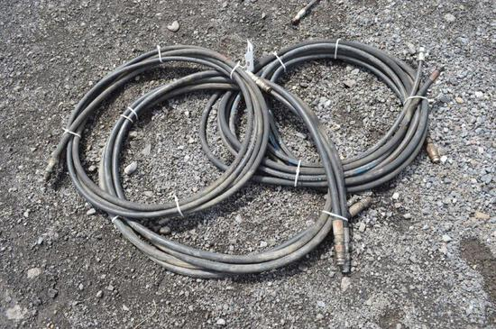 3- Misc long length hyd hoses w/ ends