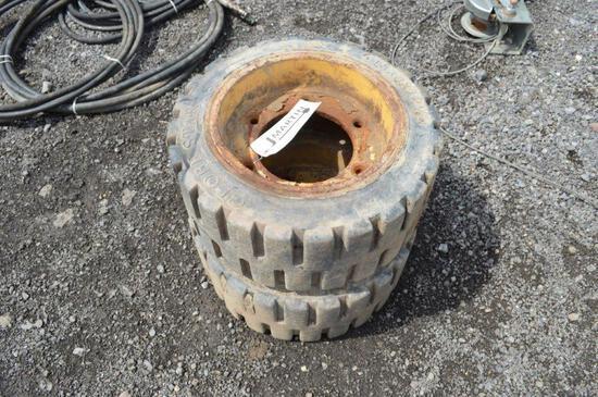 2- Globe Star forklift tires & rims
