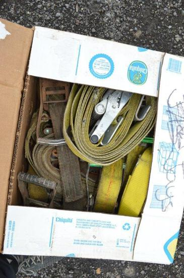 Box of ratchet straps and straps