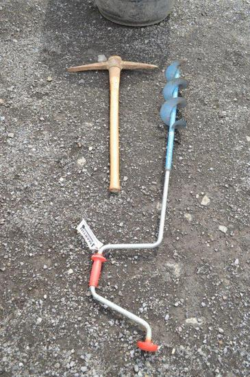 Ice auger & hand pick
