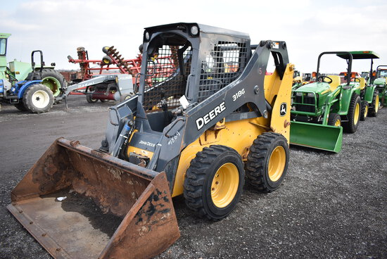 JD 318G skid loader w/ 7,016hrs, 2spd, hyd quick att, aux hyd, hand & foot controls, sells w/ 70'' m
