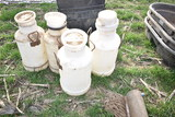 4- 10gal poly milk cans (x4)