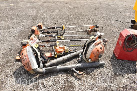 Lot of 5- Stihl weedeaters & Stihl chainsaw & 2 Stihl leaf blowers