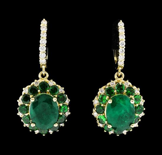 9.71 ctw Emerald and Diamond Earrings - 14KT Yellow Gold