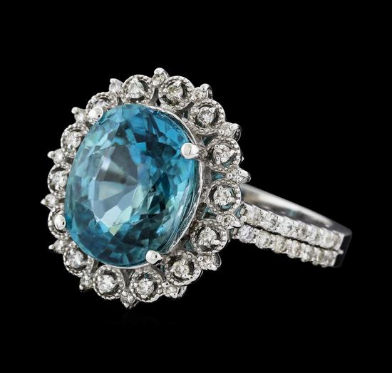 7.16 ctw Blue Zircon and Diamond Ring - 14KT White Gold