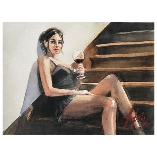 Girl with Red at Stairs by Perez, Fabian
