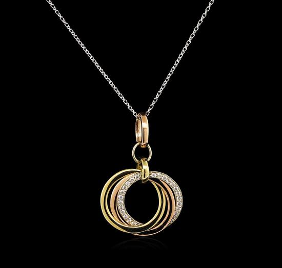 0.28 ctw Diamond Pendant With Chain - 14KT Rose Gold