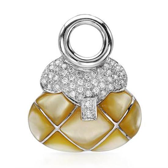 14k White Gold 0.43CTW Mother Of Pearl and Diamond Pendant, (I1-I2/Yellow/H-I)