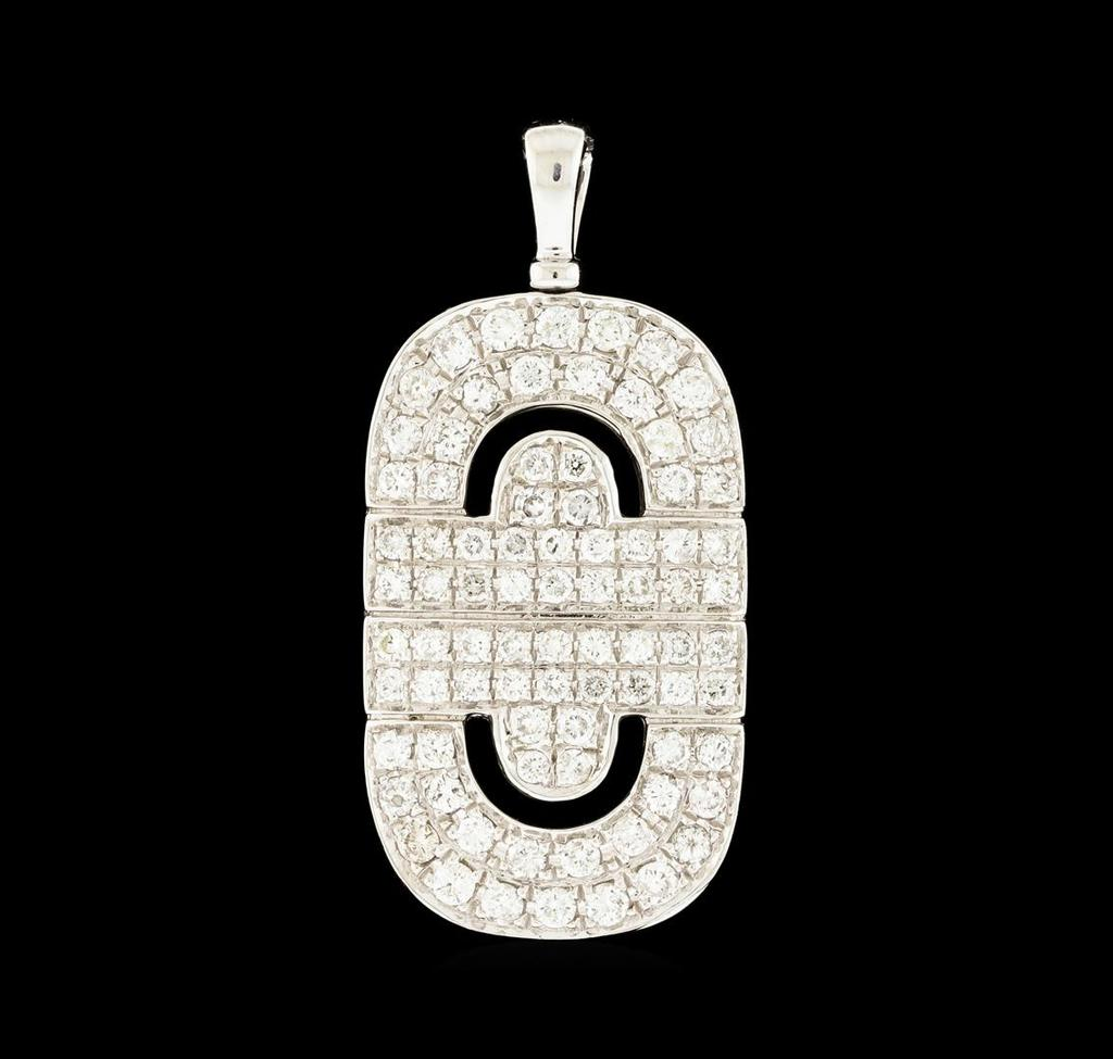1.36 ctw Diamond Pendant - 18KT White Gold