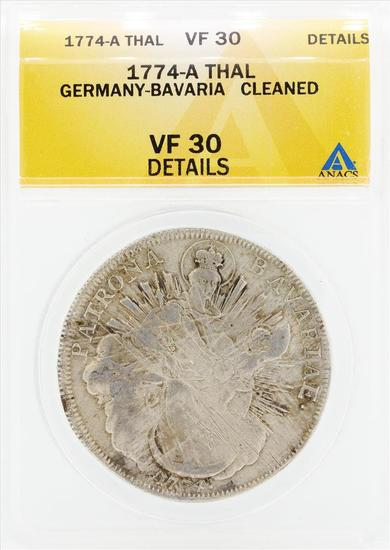 1774-A Thal Germany Bavaria Cleaned Coin ANACS VF30 Details