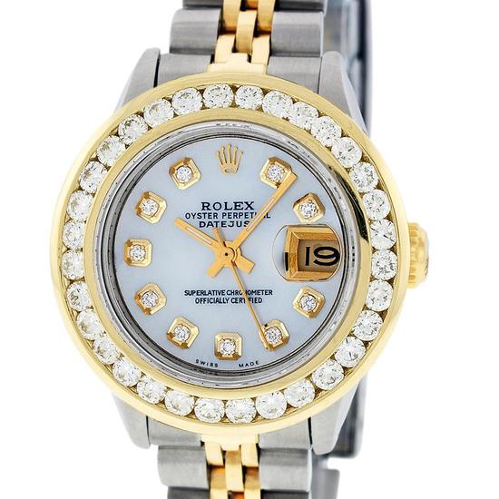 Rolex Ladies 2 Tone 14K MOP 2 ctw Diamond Datejust Wristwatch With Wooden Watch