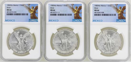 Lot of 1982Mo/1983Mo/1985Mo Mexico Libertad Onza Silver Coins NGC MS66